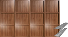 Shaker Style Walnut Panel Door & Track Set to suit an opening width of 2997mm